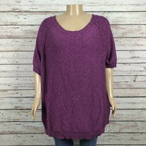Woman Within Purple Marled Pullover Sweater Plus